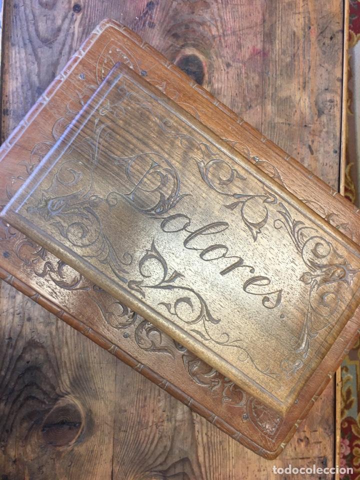 Antigüedades: Caja costurero o tocador antiguo f.s. XVIII en nogal tallado Dolores con pomo de hueso y espejo - - Foto 7 - 256026750