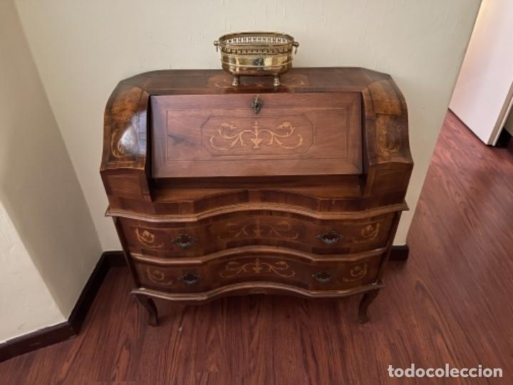 Antigüedades: Buró escritorio tipo inglesa antiguo madera noble marquetería años 70 80 - Foto 5 - 256079220