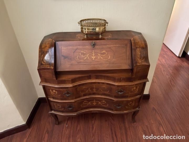 Antigüedades: Buró escritorio tipo inglesa antiguo madera noble marquetería años 70 80 - Foto 6 - 256079220