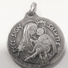 Antigüedades: MEDALLA PLATA VIRGEN DEL CARMEN Y SAGRADO CORAZÓN. 40 MM X30 MM. Lote 256126155