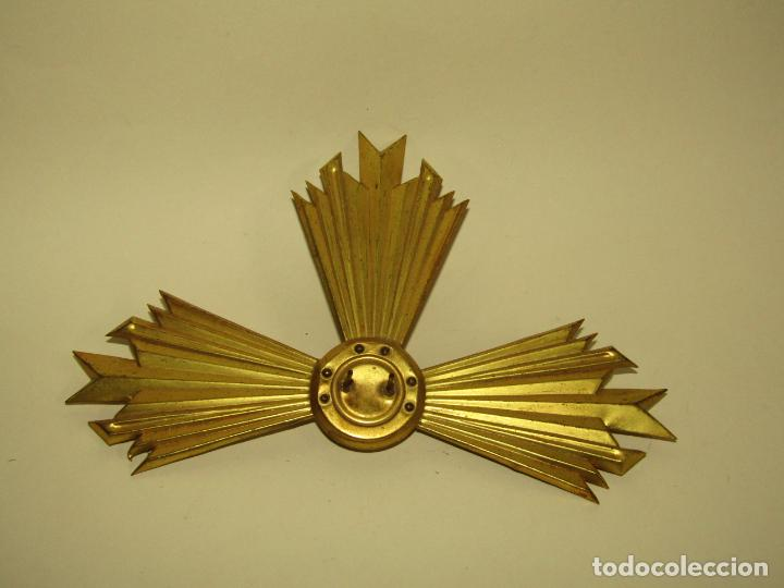 Antigüedades: Antigua Aureola Corona en Latón de Gran Tamaño para Santo o Santa - Foto 2 - 256146370