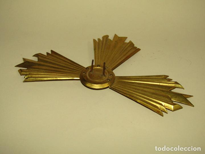 Antigüedades: Antigua Aureola Corona en Latón de Gran Tamaño para Santo o Santa - Foto 3 - 256146370