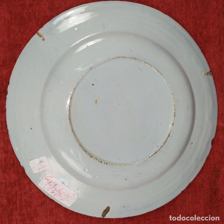 Antigüedades: 3 PLATOS EN LOZA ESMALTADA DE DELFT. HOLANDA. SIGLO XVIII - Foto 6 - 256153070