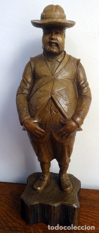 FIGURA EN TALLA DE MADERA SANCHO PANZA (Antigüedades - Hogar y Decoración - Figuras Antiguas)