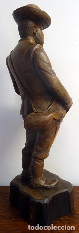 Antigüedades: FIGURA EN TALLA DE MADERA SANCHO PANZA - Foto 7 - 256159035