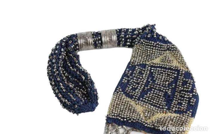 Antigüedades: Bolso monedero s XVIII bolso de los llamados de media. Plata 800, mostacillas de metal. - Foto 4 - 192865073