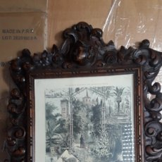 Antigüedades: MAGNÍFICO MARCO CORNUCOPIA DE MADERA TALLADA. Lote 256398635