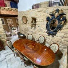 Antigüedades: CONJUNTO DE MESA OVALADA 4 SILLAS Y DOS SILLONES EN MARQUETERIA Y BRONCE LUIS XVI. Lote 257272480