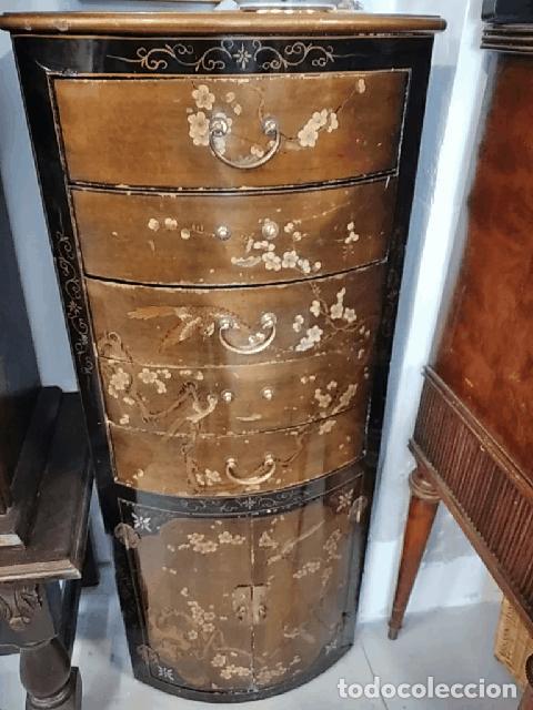 Antigüedades: Precioso gabinete chino, laca china pintado a mano, con cajones y 2 puertas. - Foto 2 - 257308350