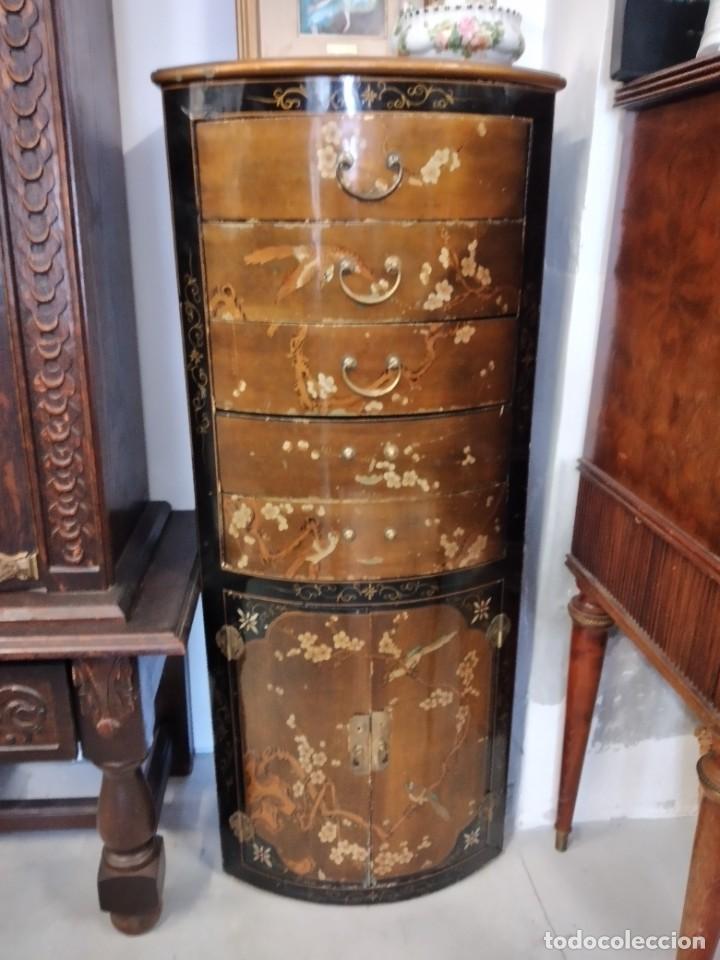 Antigüedades: Precioso gabinete chino, laca china pintado a mano, con cajones y 2 puertas. - Foto 3 - 257308350