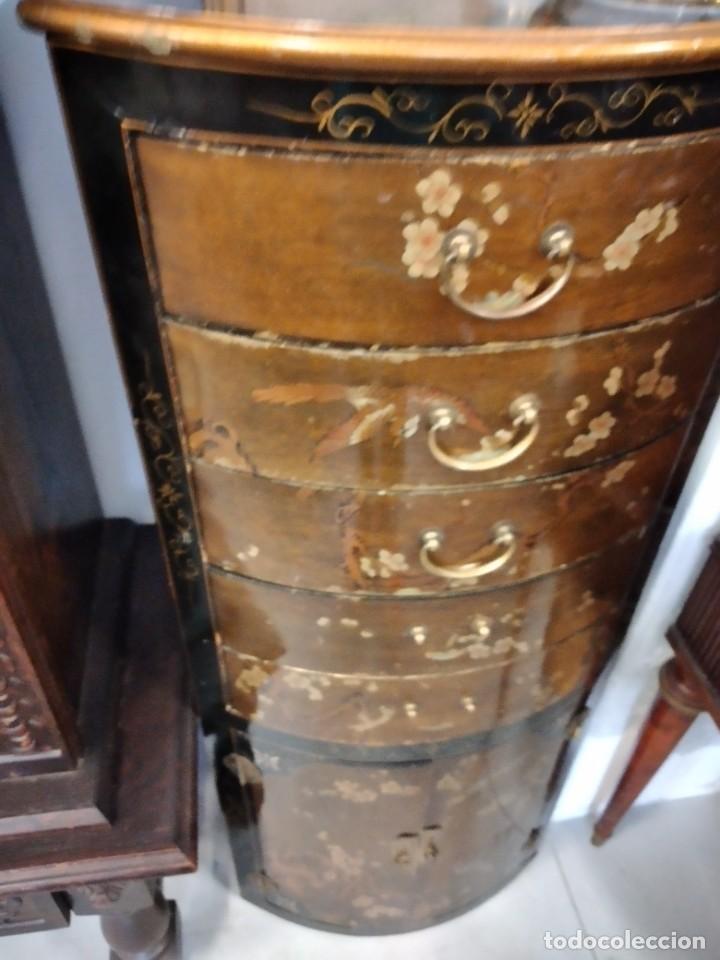 Antigüedades: Precioso gabinete chino, laca china pintado a mano, con cajones y 2 puertas. - Foto 5 - 257308350
