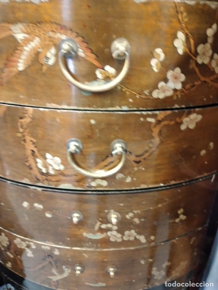 Antigüedades: Precioso gabinete chino, laca china pintado a mano, con cajones y 2 puertas. - Foto 7 - 257308350