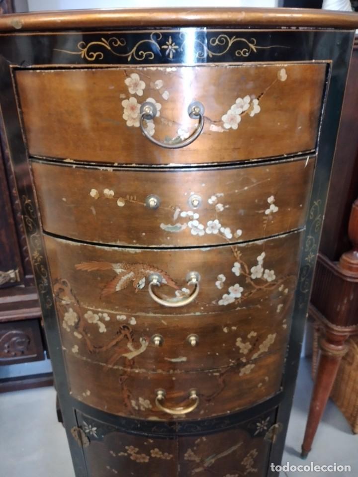 Antigüedades: Precioso gabinete chino, laca china pintado a mano, con cajones y 2 puertas. - Foto 15 - 257308350
