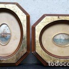 Antigüedades: 2 BAJORRELIVES EN PLATA DE LEY 996 % ELABORADO A MANO (ENMARCADOS) - CUADRO-397. Lote 257315235