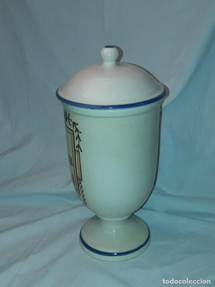 Antigüedades: Bello tarro albarelo con tapa cerámica Bañolas S. Nastu Aquat firmado en la base Almera - Foto 3 - 257328170