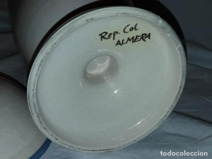 Antigüedades: Bello tarro albarelo con tapa cerámica Bañolas S. Nastu Aquat firmado en la base Almera - Foto 7 - 257328170