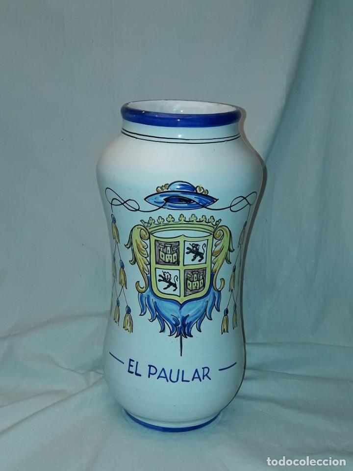Antigüedades: Precioso gran tarro albarelo de cerámica Stos. Martires Talavera El Paular 29cm - Foto 2 - 257329940