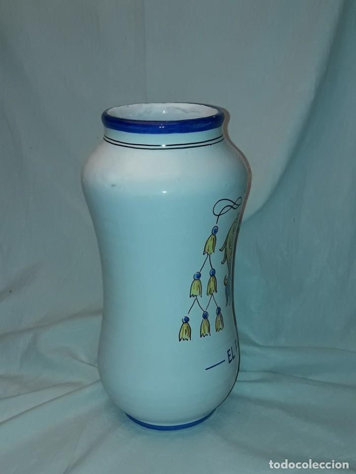 Antigüedades: Precioso gran tarro albarelo de cerámica Stos. Martires Talavera El Paular 29cm - Foto 3 - 257329940