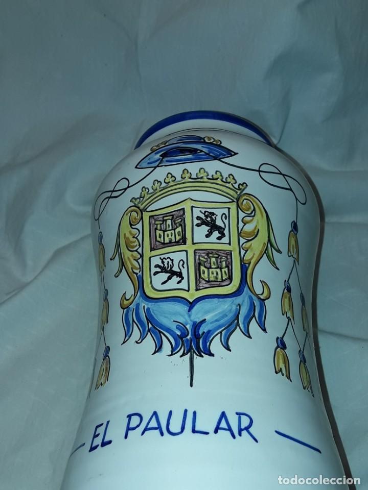 Antigüedades: Precioso gran tarro albarelo de cerámica Stos. Martires Talavera El Paular 29cm - Foto 6 - 257329940