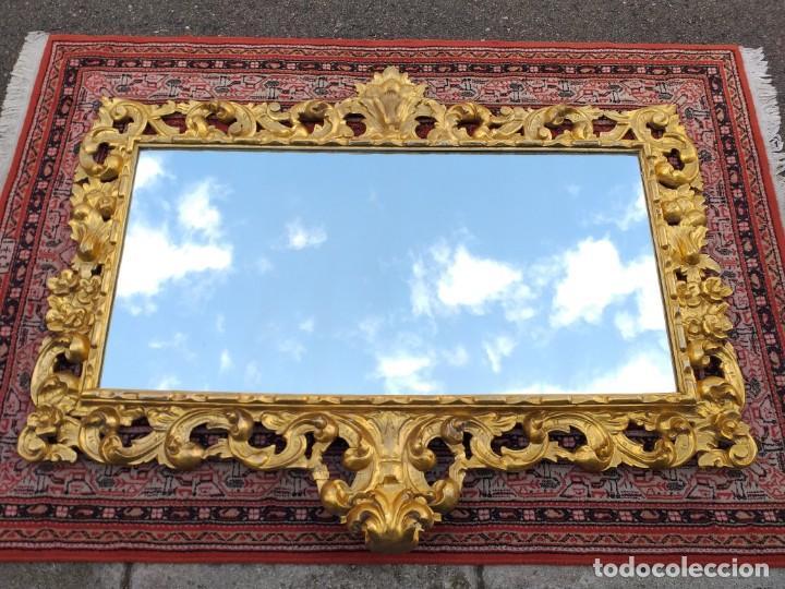 Antigüedades: Espejo antiguo pan de oro 160cm estilo barroco sXIX Gran espejo dorado madera tallada estilo Luis XV - Foto 2 - 257349065