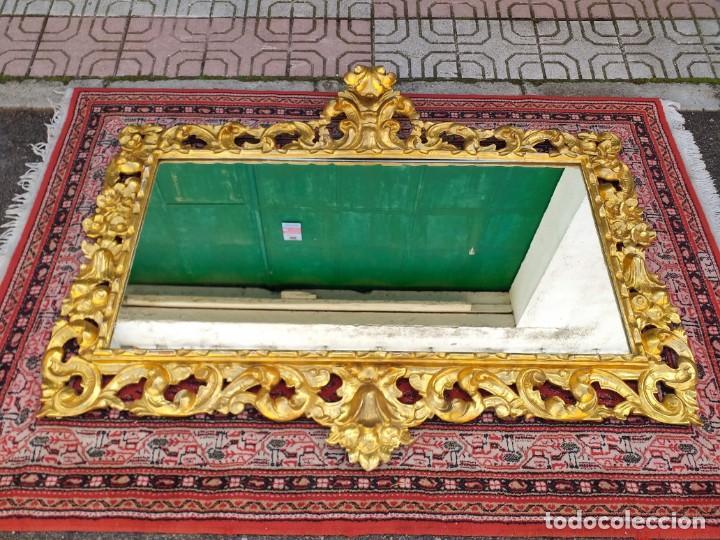 Antigüedades: Espejo antiguo pan de oro 160cm estilo barroco sXIX Gran espejo dorado madera tallada estilo Luis XV - Foto 3 - 257349065