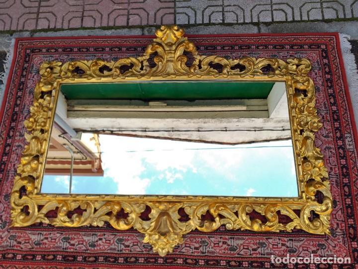 Antigüedades: Espejo antiguo pan de oro 160cm estilo barroco sXIX Gran espejo dorado madera tallada estilo Luis XV - Foto 4 - 257349065