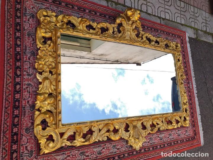 Antigüedades: Espejo antiguo pan de oro 160cm estilo barroco sXIX Gran espejo dorado madera tallada estilo Luis XV - Foto 5 - 257349065