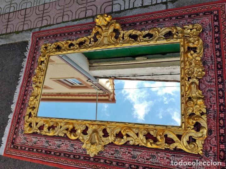 Antigüedades: Espejo antiguo pan de oro 160cm estilo barroco sXIX Gran espejo dorado madera tallada estilo Luis XV - Foto 6 - 257349065