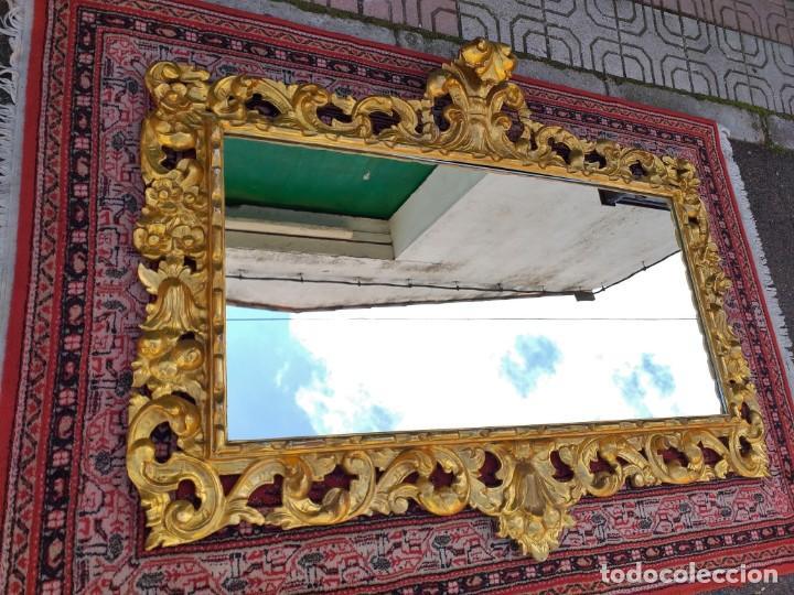Antigüedades: Espejo antiguo pan de oro 160cm estilo barroco sXIX Gran espejo dorado madera tallada estilo Luis XV - Foto 7 - 257349065