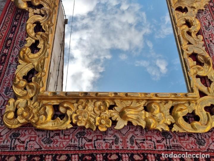 Antigüedades: Espejo antiguo pan de oro 160cm estilo barroco sXIX Gran espejo dorado madera tallada estilo Luis XV - Foto 8 - 257349065