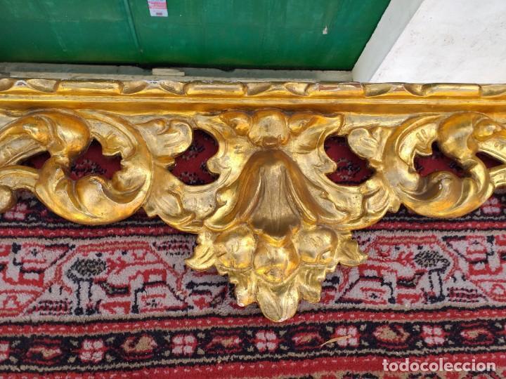 Antigüedades: Espejo antiguo pan de oro 160cm estilo barroco sXIX Gran espejo dorado madera tallada estilo Luis XV - Foto 10 - 257349065