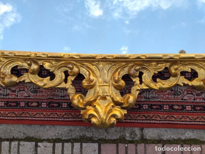 Antigüedades: Espejo antiguo pan de oro 160cm estilo barroco sXIX Gran espejo dorado madera tallada estilo Luis XV - Foto 11 - 257349065