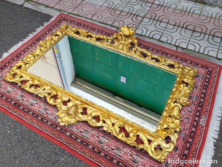 Antigüedades: Espejo antiguo pan de oro 160cm estilo barroco sXIX Gran espejo dorado madera tallada estilo Luis XV - Foto 15 - 257349065
