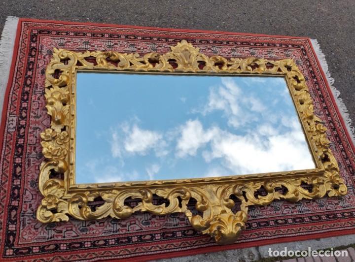 Antigüedades: Espejo antiguo pan de oro 160cm estilo barroco sXIX Gran espejo dorado madera tallada estilo Luis XV - Foto 16 - 257349065