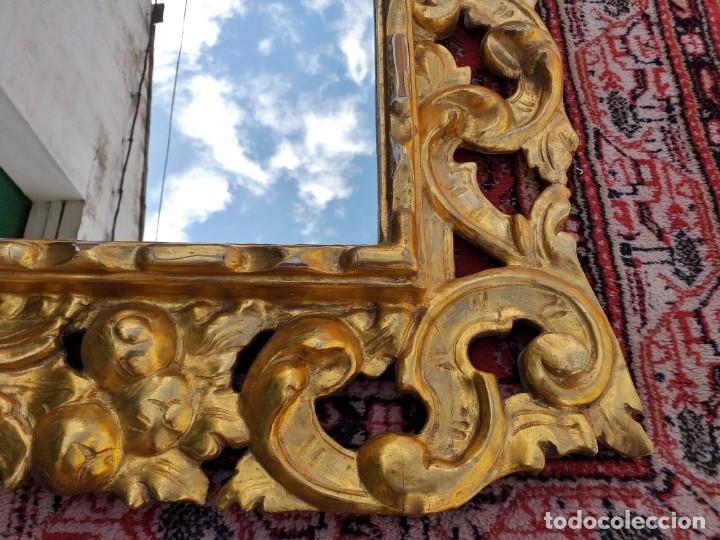 Antigüedades: Espejo antiguo pan de oro 160cm estilo barroco sXIX Gran espejo dorado madera tallada estilo Luis XV - Foto 19 - 257349065