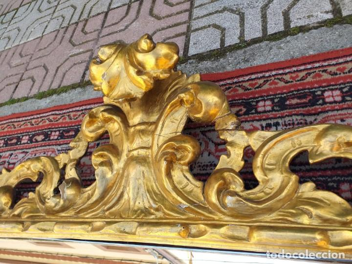 Antigüedades: Espejo antiguo pan de oro 160cm estilo barroco sXIX Gran espejo dorado madera tallada estilo Luis XV - Foto 21 - 257349065