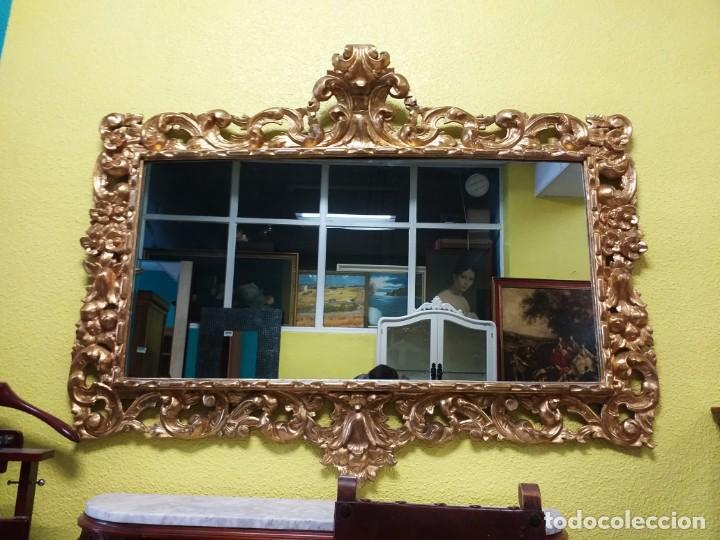 Antigüedades: Espejo antiguo pan de oro 160cm estilo barroco sXIX Gran espejo dorado madera tallada estilo Luis XV - Foto 23 - 257349065
