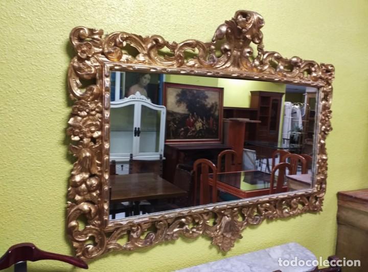 Antigüedades: Espejo antiguo pan de oro 160cm estilo barroco sXIX Gran espejo dorado madera tallada estilo Luis XV - Foto 24 - 257349065