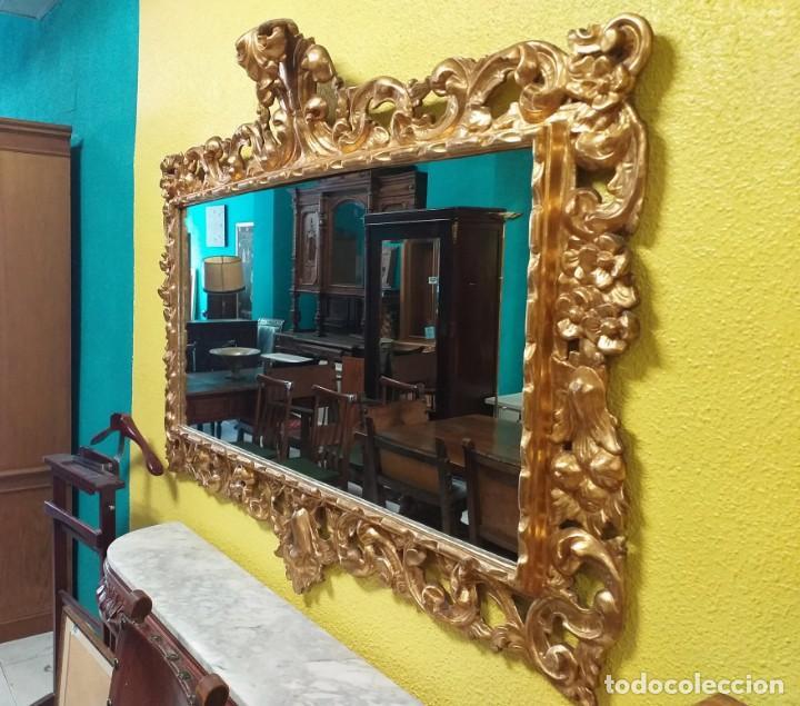 Antigüedades: Espejo antiguo pan de oro 160cm estilo barroco sXIX Gran espejo dorado madera tallada estilo Luis XV - Foto 25 - 257349065