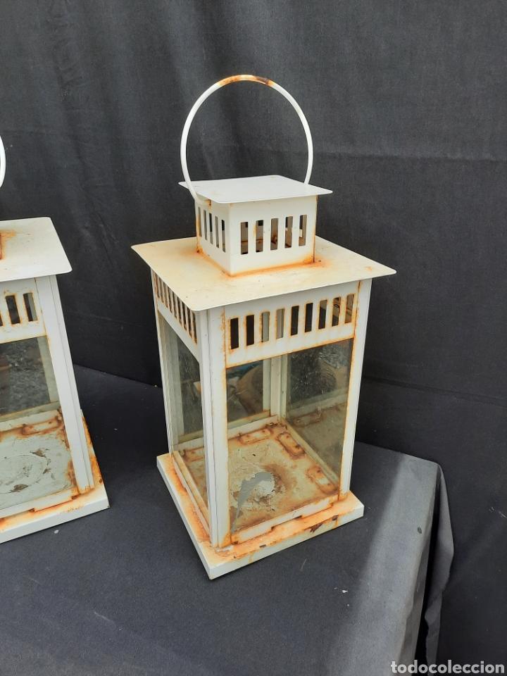 Antigüedades: 2 viejos Farolillos porta velas grandes de hierro - Foto 2 - 257349650