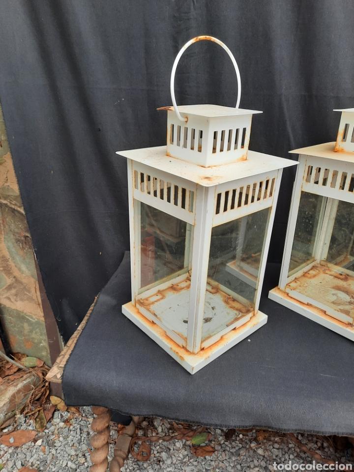 Antigüedades: 2 viejos Farolillos porta velas grandes de hierro - Foto 3 - 257349650