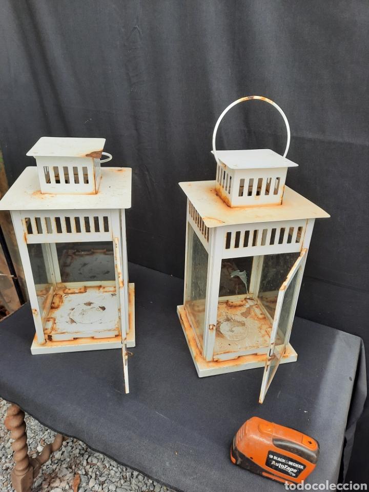 Antigüedades: 2 viejos Farolillos porta velas grandes de hierro - Foto 5 - 257349650