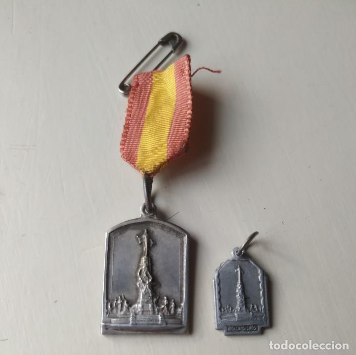 DOS ANTIGUAS MEDALLAS DEL CERRO DE LOS ÁNGELES. RECUERDO Y AÑO SANTO 1944.1945 (Antigüedades - Religiosas - Medallas Antiguas)