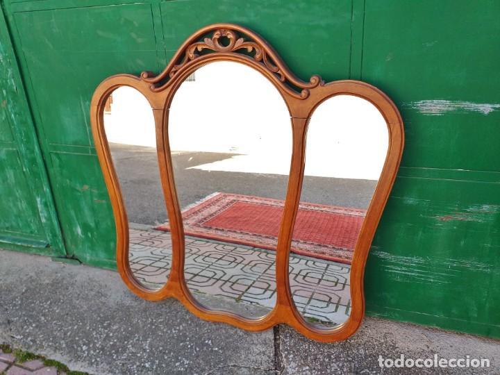 Antigüedades: Espejo tríptico antiguo vintage estilo isabelino. Espejo antiguo para tocador. - Foto 3 - 257354125