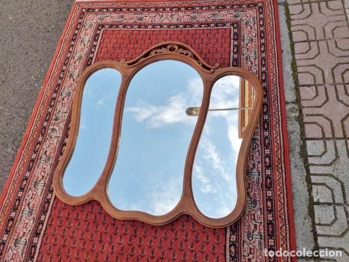 Antigüedades: Espejo tríptico antiguo vintage estilo isabelino. Espejo antiguo para tocador. - Foto 2 - 257354125