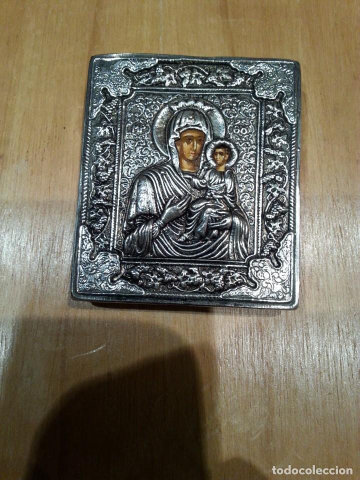 MAGNÍFICO PEQUEÑO ICONO REPLICA BIZANTINA EN PLATA DE LEY 950 DE GRECIA. VER 3 FOTOGRAFÍAS. (Antigüedades - Religiosas - Medallas Antiguas)