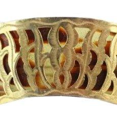 Antigüedades: HORQUILLA PASADOR EN CELULOIDE Y BRONCE DORADO ART NOUVEAU 1920. 16.5X3CM. Lote 227820725