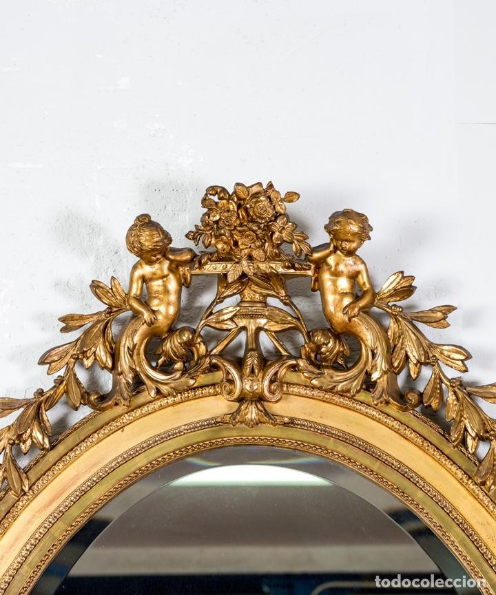 Antigüedades: Espejo Antiguo Pan De Oro S.XIX - Foto 2 - 257390360