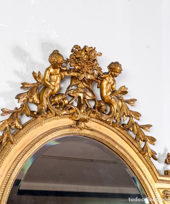 Antigüedades: Espejo Antiguo Pan De Oro S.XIX - Foto 3 - 257390360