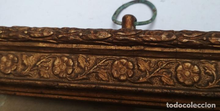 Antigüedades: ANTIGUO MARCO DE MADERA CON CRISTAL.Dorso sello de Ramon Santorroman de Barbastro. - Foto 3 - 257394200